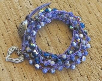 Multi Wrap Crochet Bracelet, Beaded Wrap Bracelet, Boho Bracelet, Blue Purple Bracelet
