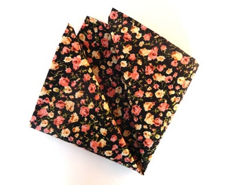 Black Pocket Square with Pink Flowers, Mens Pocket Square, Wedding Pocket Square, Handkerchief