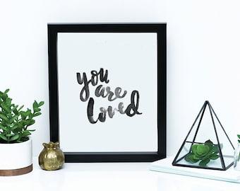 You are Loved DIGITAL Print // Nursery Wall Art, Baby nursery art, you are loved art, Christian wall print, minimalist wall decor, christian