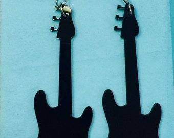 Black Acrylic Guitar Earrings