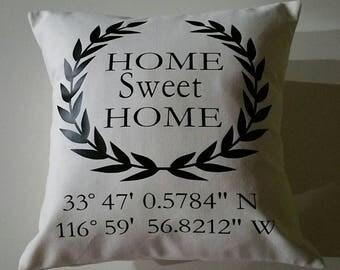 Map coordinate pillow