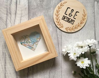 Wedding Gift // Origami Heart 'Where we were Married' in Frame // Origami Gift //  First Wedding Anniversary Gift // Gifts for Her