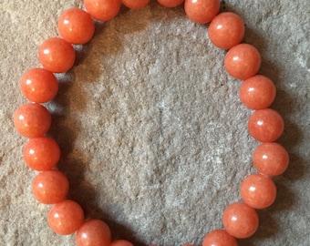 Handmade Orange Jade 8mm semi precious gemstone bracelet