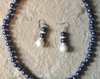 Handmade 8-12m Blue/White South Sea Shell Pearl choker Necklace and Earrings Set
