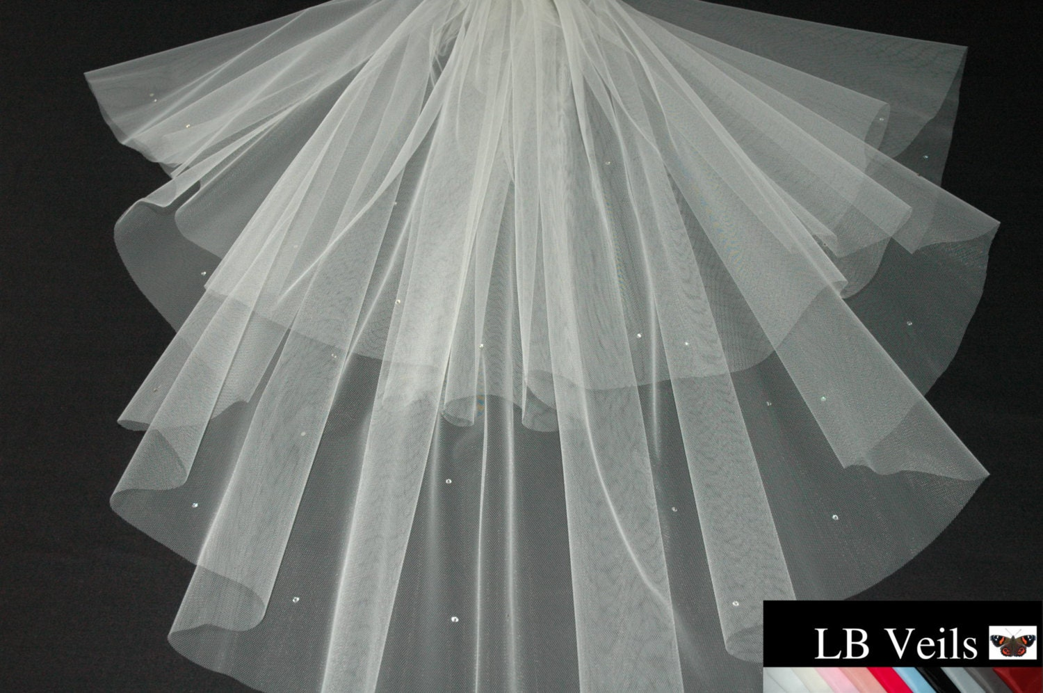 Designer Ivory Wedding Veil Any Length Crystal Diamante All Over LBV151 LB Veils UK