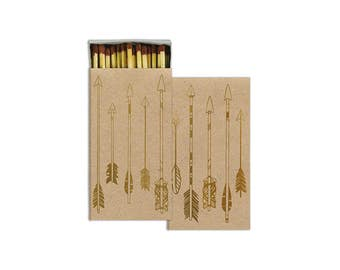 8 wedding matches, large matches, party matches, Gold Foil Arrow Matches, Arrow Matches, Wedding Favor, long matches, matches