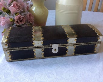 Wooden Box Decorated with Metal and Studs Storage box Jewellery box Desk tidy
