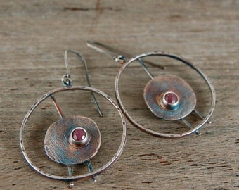 SALE 20% off !!- use the coupon code: SALE20 ruby silver earrings, oxidized silver hoop earrings
