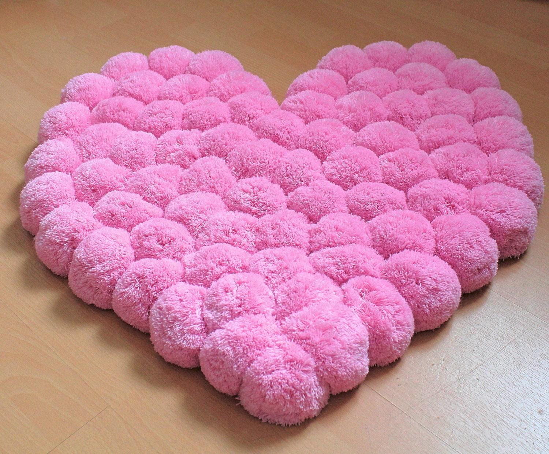 heart rug pink rug pom pom carpet soft area rug kids. Black Bedroom Furniture Sets. Home Design Ideas