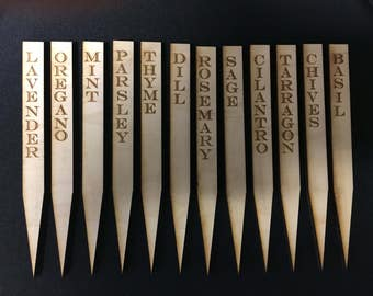 Herb garden markers. Set of 12 markers for garden. Identify my herbs. Wooden sticks to identify your herbs in your garden.