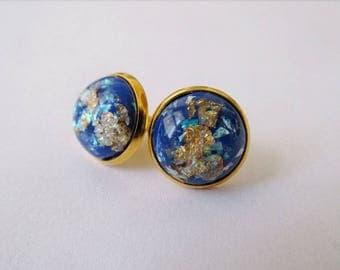 Gold Leaf Earrings - Blue Series