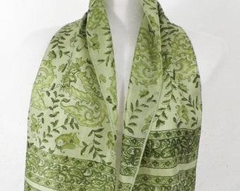 Spring Greens Indian Silk Vintage Scarf