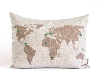 Personalized Map Pillow, World Map Pillow, Long Distance Relationship, Gift for Him, Gift For Her, Long Distance Relationship