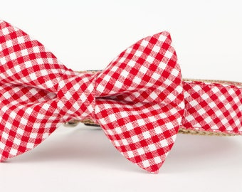 Red Gingham, Bow Tie Collar, Dog Bow Tie, Wedding Collar, Custom Dog Collar, Bowtie Collar, Dog Accessories, Red Dog Collar