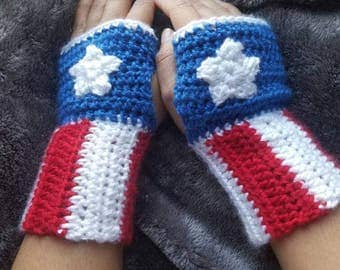 Captain America Fingerless Gloves