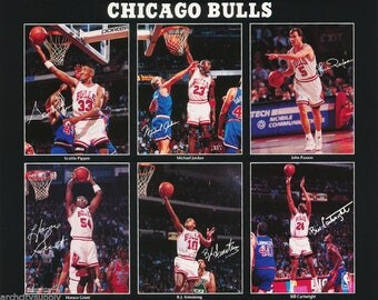 Chicago Bulls All Stars Collage 1992  Poster