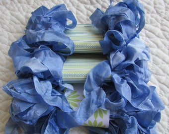 Blue, ribbon, grungy, primitive, hand dyed, OOAK, crinkly ribbon