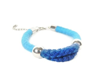 Nautical Dark Blue Rope Bracelet - Rope Bracelet - Wrapped Rope Bracelet - Aqua Bracelet - Nautical Gift