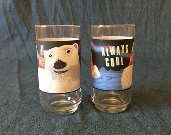 Vintage Indiana Glass Always Cool Coca Cola Polar Bear Glasses, Set of 2