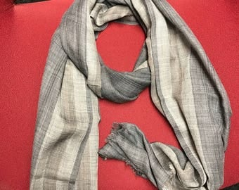 100% Superfine pure Cashmere Scarf with stripe border-Grey inner / for both / men/ women/loved by all age