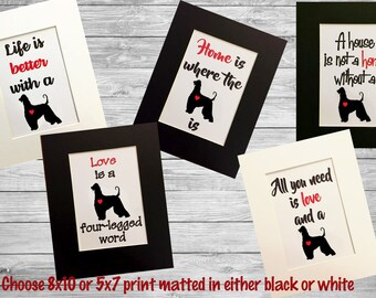 Afghan Hound Silhouette Matted Dog Art Print - 8x10 or 5x7 - Home is Where The Dog Is - Life is Better with a Dog - A House is Not a Home