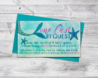 Printable Book Request Card, Mermaid Baby Shower Printable Tail, Books for Baby, 2x3.5