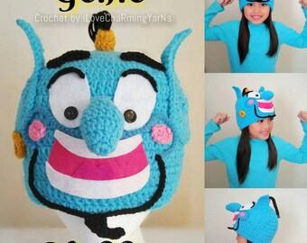 Genie, Genie Aladdin hat, Genie crochet hat costume, disney crochet hat,baby to adult disney Genie crochet costume,Disney Genie hat,wig hat