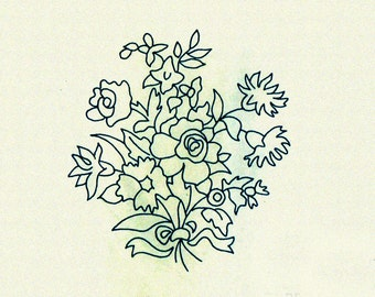 Genuine 1950s Vintage WELDONS Beautiful Floral Spray with Roses Unused Embroidery Iron-On-Transfer LOOKx