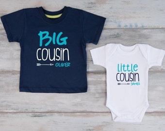 Big Cousin Little Cousin Personalized Shirts, Navy T-Shirt & White Baby Bodysuit Set, Cousin Shirts, Big Cousin Shirt, Cousin Gift