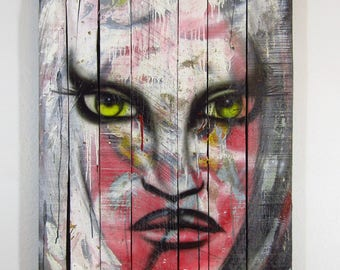 ENLIGHTENING- Mixed Media Painting on Reclaimed Pallet Wood Canvas