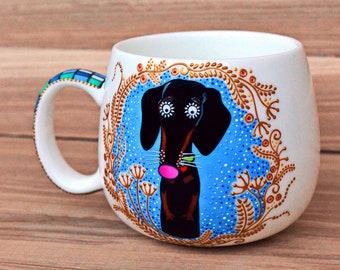 badger girl dachshund mug for her
