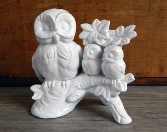 Vintage Owl Figurine, Vintage Owl Statue, Modern Owl Statue, White Owl Figurine, Ceramic Owl