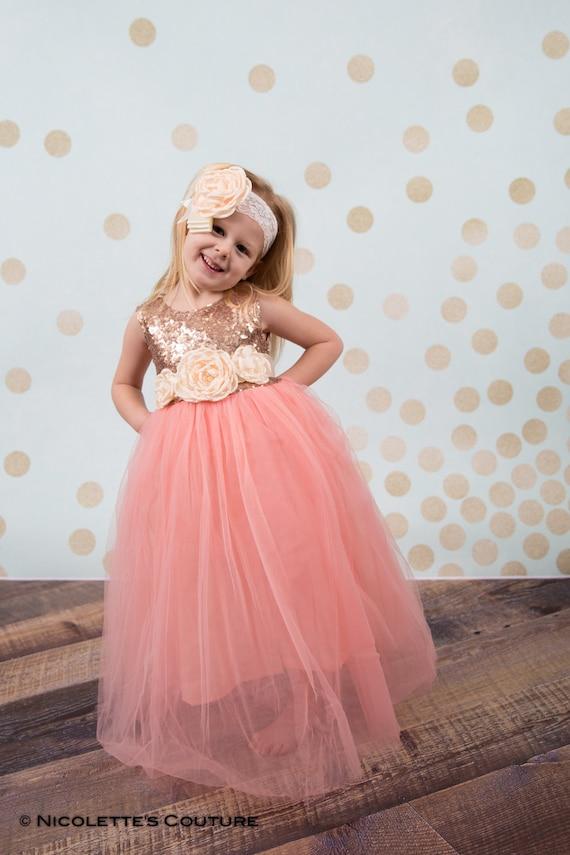 Rose Gold Flower Girl Dress Sequin Top Floor Length Dress
