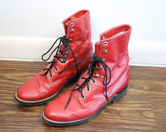 40% Off Flash Sale - Vintage COWTOWN 1970s Red Leather Horse Riding Boots Size 8-9 Womens