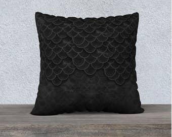 Black Mermaid Scales Pillow Case, Dragon Pillow, Mermaid Pillow, Square Pillow, Throw Pillow, Decorative Pillow, Designer Pillow, 22x22