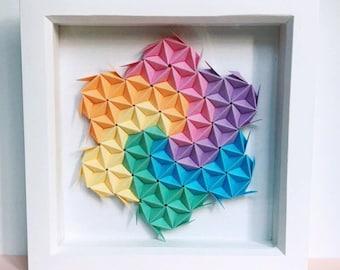 Geometric Origami Wall Art, Modular Origami Art, Origami Art, 3D Origami Wall Art, 3D Paper Wall Art, Geometric Paper Art, Paper Wall Art