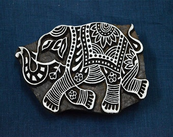 Elephant Wooden Stamp - Hand Carved Indian Wood Block - Textile Stamps - Fabric Stamp - Textile Printing Block