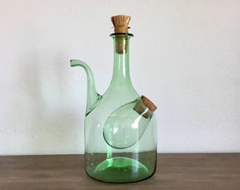 Vintage Wine Decanter; Italian Green Glass Wine Decanter with Ice Compartment; Mid Century Decanter; Wine Carafe; Hand Blown Decanter