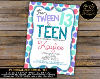 Tween to Teen 13th Birthday Party Invitation