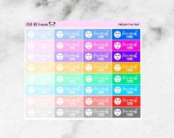Multicolor Face Mask Time Planner Sticker