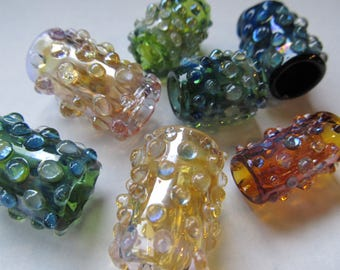 Glass Dread bead Solid color with silver fume and clear dots