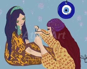 Giclée Art Print- Digital-Cultural Art- Colorful Illustration-Humans- Women