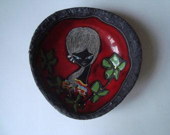 RETRO PIN DISH Italy Ceramic Art Pottery, 50's, mid century modern, signed, kitsch, San Marino