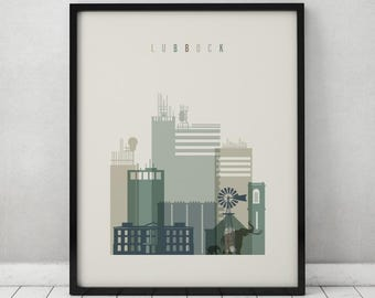 lubbock print poster wall art travel print texas lubbock skyline - Home Decor Lubbock Tx