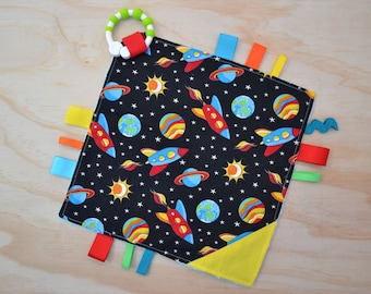 Taggie, Crinkle Sound, Sensory, Activity, Teething, Minky Blanket- Space Galaxy