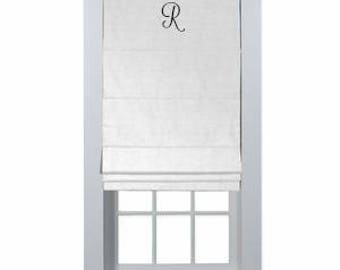 138# Custom Roman Shade Simply Monogrammed, 7 Different Colors Offered