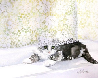 Kitten 'n' Lace 5x7 Blank Greeting Card with Envelope