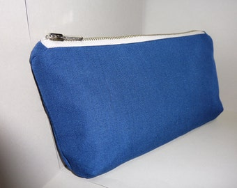 Navy Blue Canvas Clutch