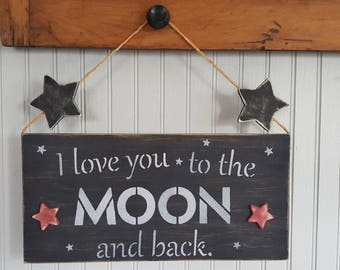 Wood Signage I love You to the Moon and Back