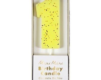 Meri Meri Yellow Number 1 Candle